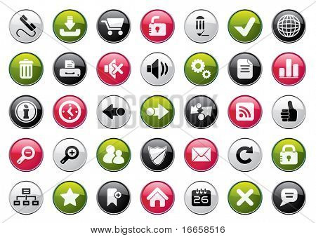 Internet Four Colors Icon Set. Easy To Edit Vector.