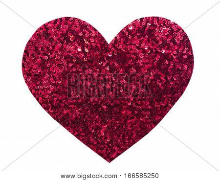 Round glitter red sequin in heart shape isolated on white background - love and valentine concept