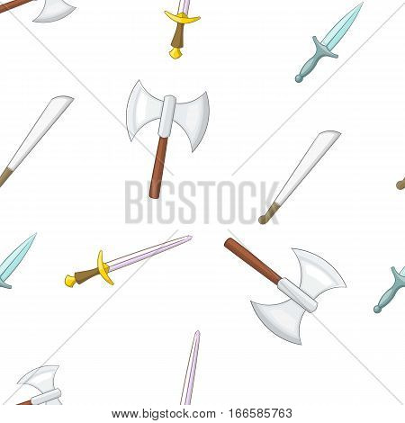 Military weapons pattern. Cartoon illustration of military weapons vector pattern for web