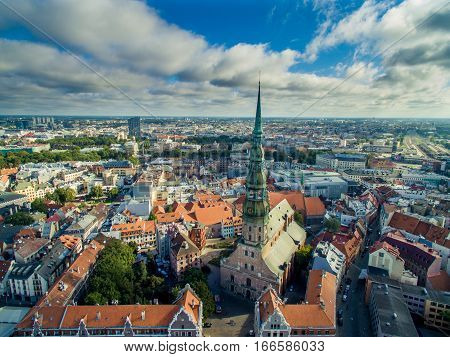 Riga, Latvia - September 2016: Aerial view over oldtown. East Europe