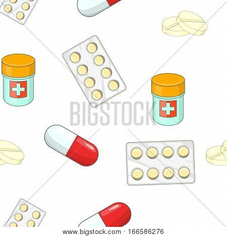 Treatment tablets pattern. Cartoon illustration of treatment tablets vector pattern for web