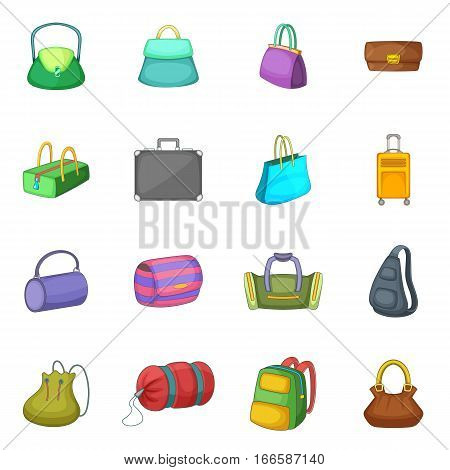 Different bagage icons set. Cartoon illustration of 16 different bagage vector icons for web