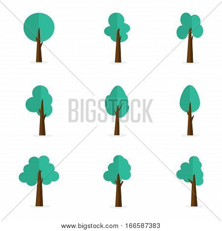 illustration of tree set collection stock object