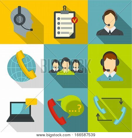 Technical support icons set. Flat illustration of 9 technical support vector icons for web