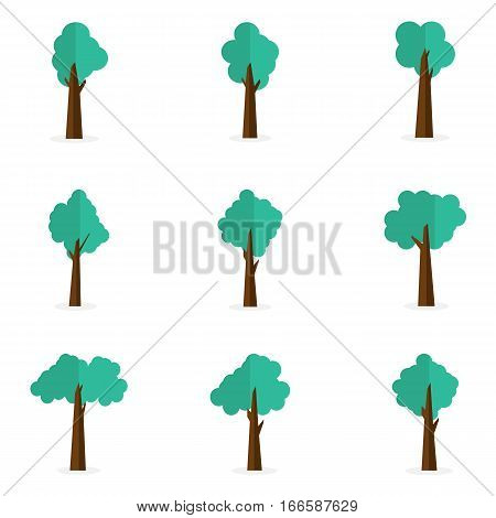 Collection stock of tree set vector art