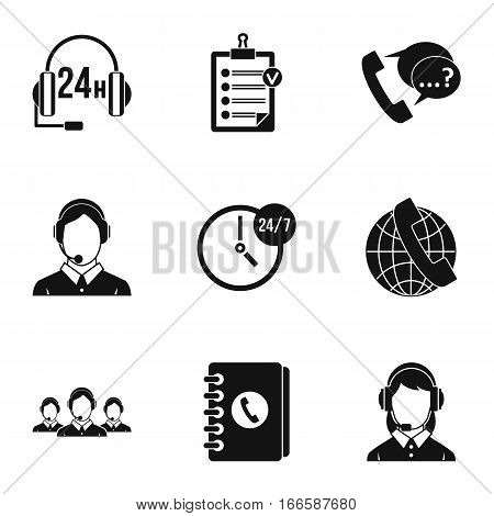 Technical support icons set. Simple illustration of 9 technical support vector icons for web
