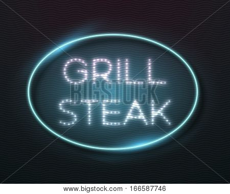 Illustration of Realistic Vector Neon Sign Icon. Vintage Glowing Neon Frame. Grill Steak Bar Neon Sign