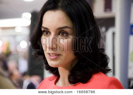 RUSSIA, MOSCOW - JANUARY 30: Tina Kandelaki close-up portrait at Repuplic Bookstore, Russian Pioneer Magazine, Pioneer Readings In Repuplic Bookstore,  January 30, 2009 in Moscow, Russia.