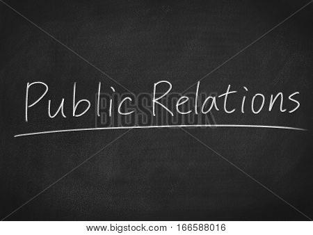 public relations concept word on blackboard chalkboard background