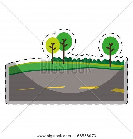 paved road with trees on the roadside icon image vector illustration design