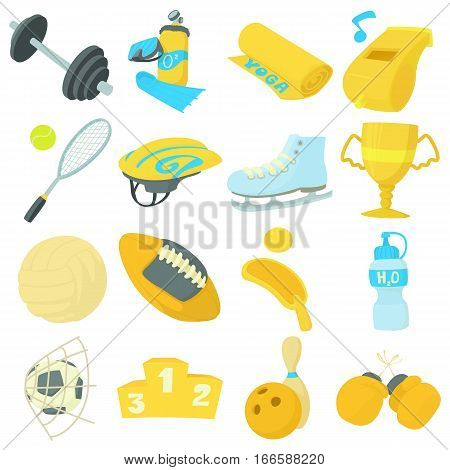 Sport items icons set. Cartoon illustration of 16 sport items vector icons for web