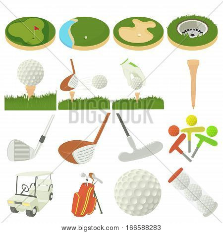Golf items icons set. Cartoon illustration of 16 golf items vector icons for web