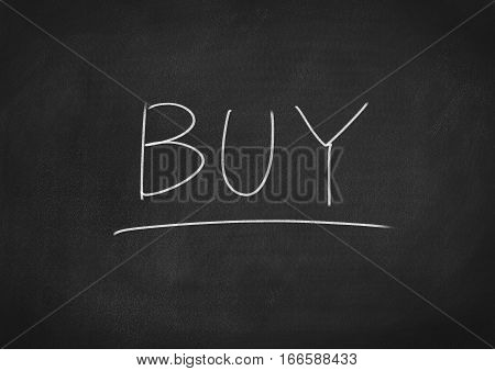 buy concept word on blackboard chalkboard background