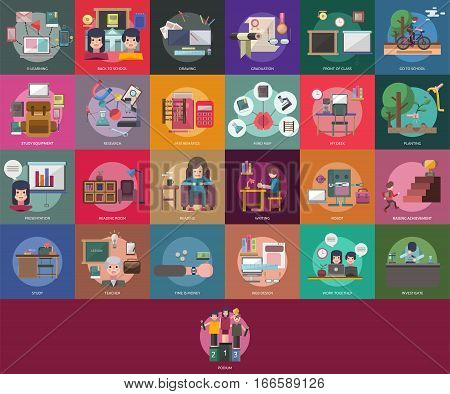 Education and Science Conceptual Design | Set of great flat design illustration concepts for education, science, learning, reading, writing and much more.