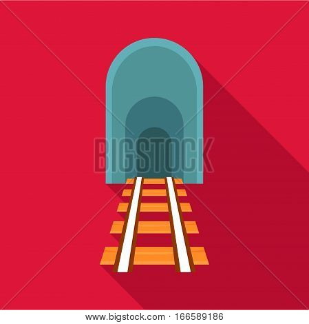Railway tunnel icon. Flat illustration of railway tunnel vector icon for web design