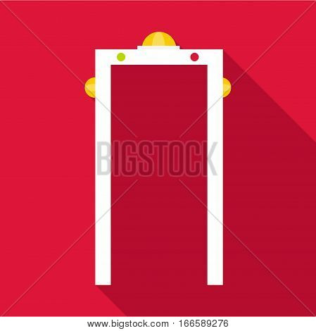Check on metal detector icon. Flat illustration of check on metal detector vector icon for web