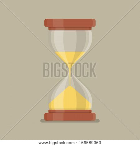 Transparent sandglass in flat style. Vector illustration