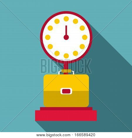 Luggage scales icon. Flat illustration of luggage scales vector icon for web