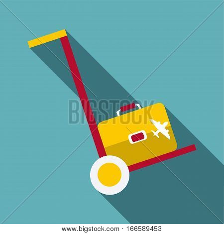 Truck with luggage icon. Flat illustration of truck with luggage vector icon for web