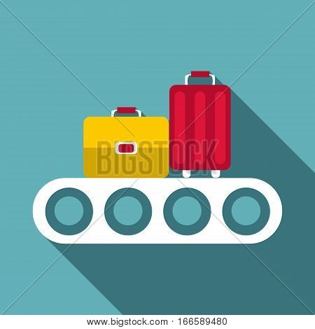 Conveyor belt with baggage icon. Flat illustration of conveyor belt with baggage vector icon for web