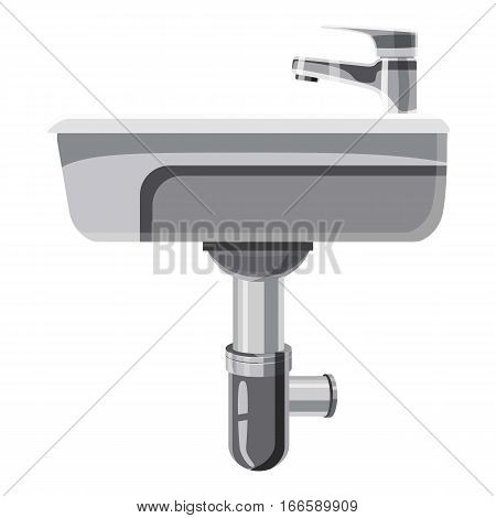 Sink in the bathroom icon. Cartoon illustration of sink in the bathroom vector icon for web design