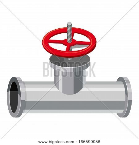 Pipe with a valve icon. Cartoon illustration of pipe with a valve vector icon for web design