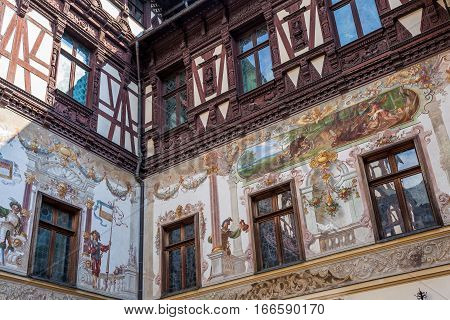 Depicted walls at Peles Castle in Sinaia Romania. poster