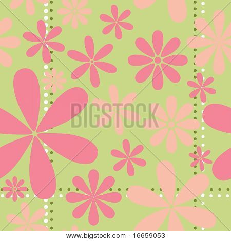 Pink Retro Floral Seamless Vector Pattern