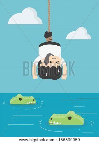 Concept Illustration Businessman is prey to crocodiles Victims