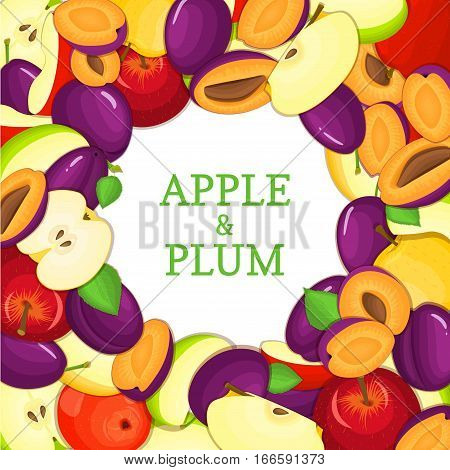 Round colored frame composed of delicious apple plum fruit. Vector card illustration. Circle apples plums frame. Ripe fresh fruits appetizing looking for packaging design of juice, breakfast food