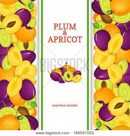 Ripe apricot plum vertical seamless border Vector illustration card with composition apricots plums fruits whole and slice, leaf appetizing looking for packaging design of juice breakfast health food