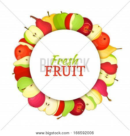 Round colored frame composed of delicious apple pear fruit. Vector card illustration. Circle apples pears frame. Ripe fresh fruits appetizing looking for packaging design of juice, breakfast food