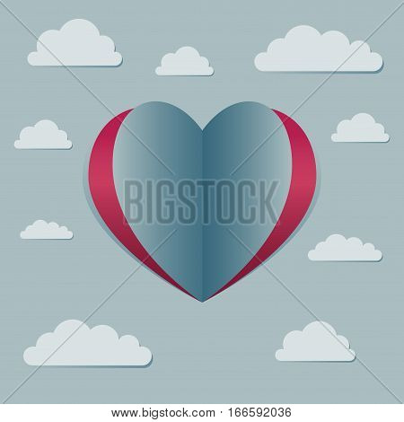 Vector stock of heart shaped love symbol surrounded with clouds in the sky