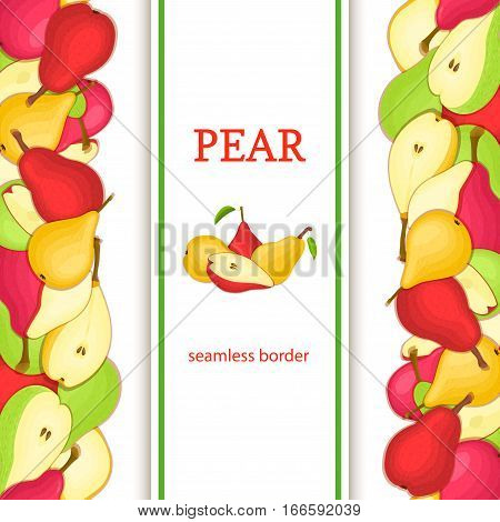 Ripe pear vertical seamless border. Vector illustration card with composition Juicy pears fruits whole and slice, leaf appetizing looking for packaging design of juice breakfast, healthy eating