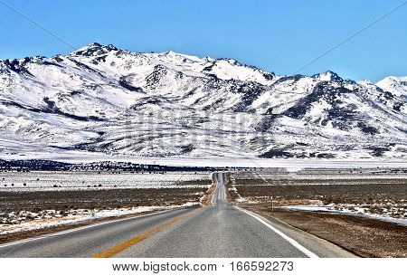 Road trip to Nevada. Driving trough Nevada State in winter. United States.