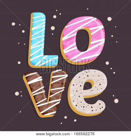 Vector stock of edible love word made from cakes happy valentines background