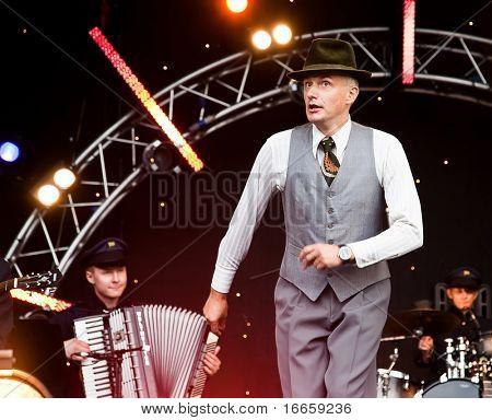 ARKHANGELSKOE, RUSSIA - JUNE 7:Musician Oleg Nesterov. 6th International Jazz Festival