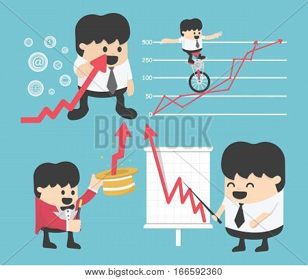 Set Illustration businessman concepts cartoon business stock exchange. Flat vector