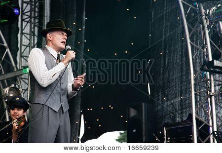 ARKHANGELSKOE, RUSSIA - JUNE 7: Musician Oleg Nesterov. 6th International Jazz Festival