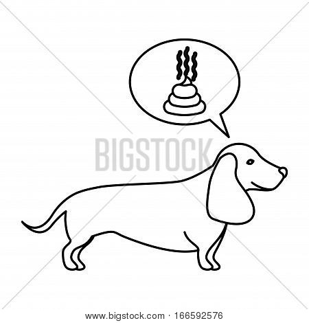 black contour with dachshund dog thinking poop vector illustration