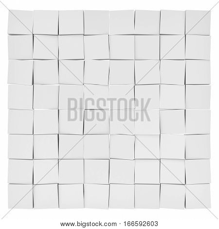 3d rendering of white uneven tiles each slightly tilted in different direction on white background. Abstract forms. Geometric tiles.
