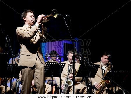 ARKHANGELSKOE, RUSSIA - JUNE 7: Oleg Lundstrem Big-Band. 6th International Jazz Festival