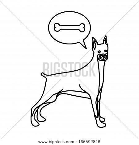 black contour with doberman pinscher dog thinking bone vector illustration