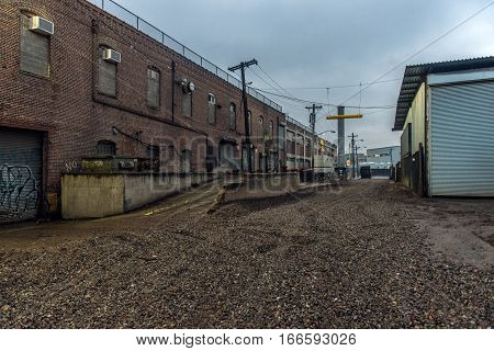 Gravel road at industrial area in the city