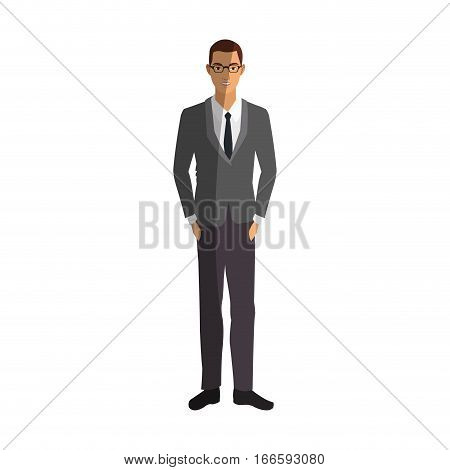 businessman wearing executive clothes over white background. colorful design. vector illustration