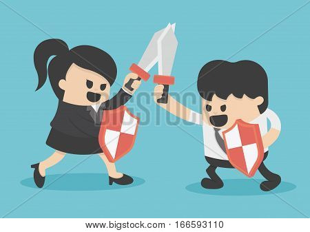 Concept business struggle man and woman with sword and shield