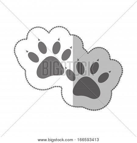 grayscale silhouette middle shadow sticker with dog footprint vector illustration