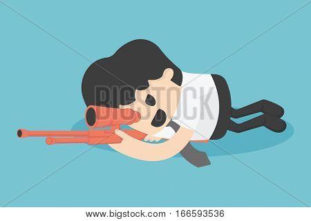 Concept illustration businessman sneak attack bloodiest shoot