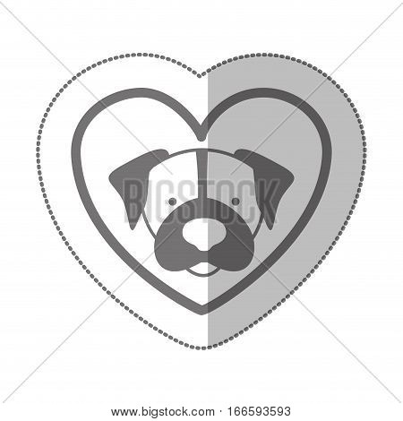 grayscale silhouette middle shadow sticker with beagle dog inside of heart vector illustration
