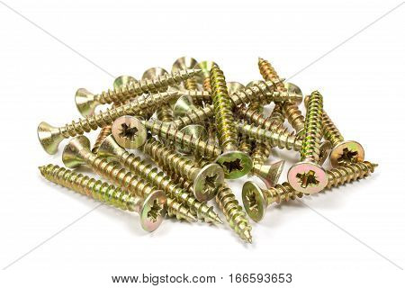 Universal anodized screws on a white background
